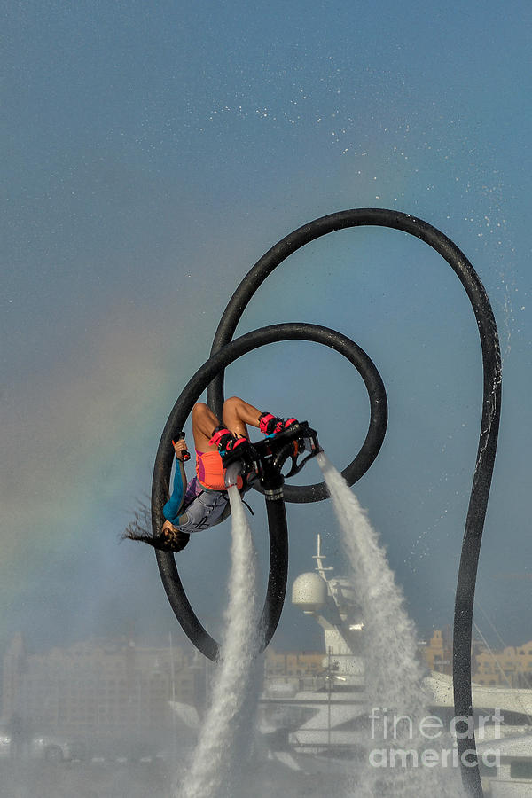 Female Flyboarder In Dubai, Uae by Ivan Batinic