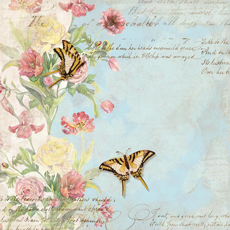 Fleurs De Pivoine Watercolor W Butterflies In A French Vintage Wallpaper Style Painting By Audrey Jeanne Roberts
