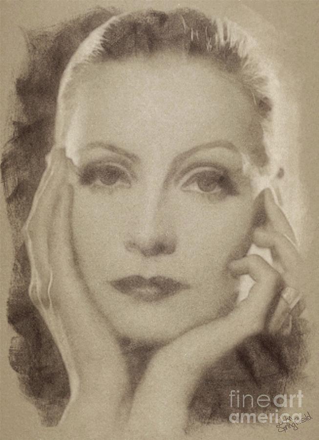 Greta Garbo Vintage Hollywood Actress Drawing