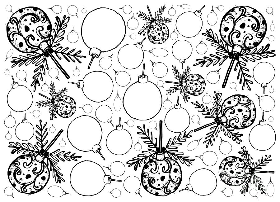 Drawings Of Christmas Ornaments.Hand Drawn Of Lovely Christmas Ornaments Background By Iam Nee