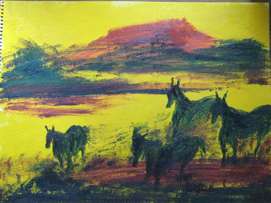 Horses Painting - 4 Horses by Geanene Anderson