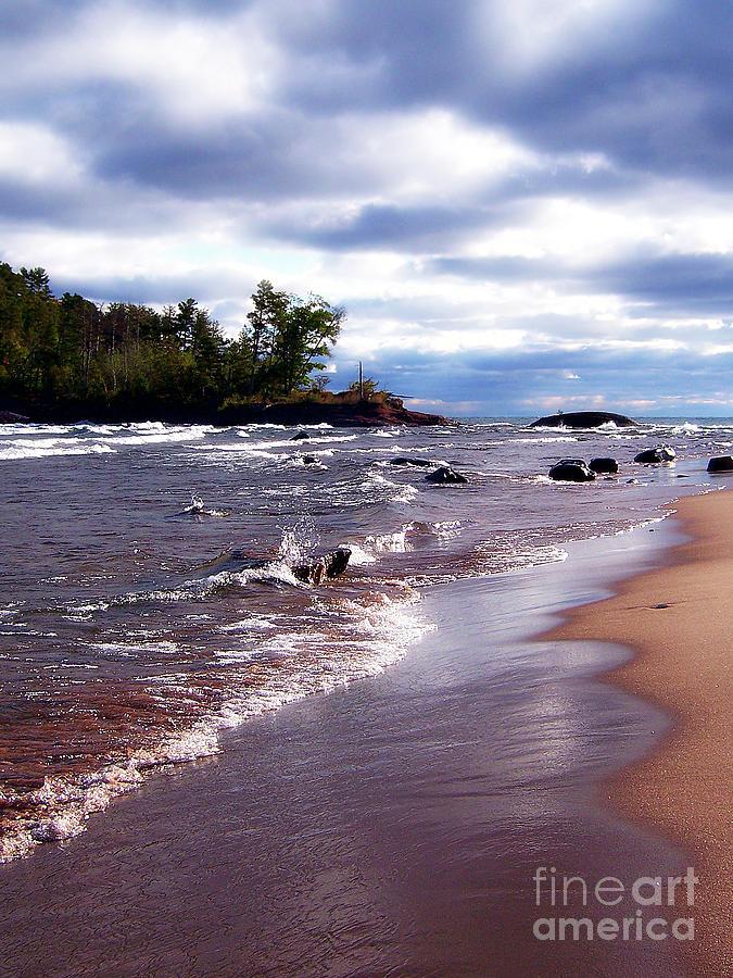 Nature Photograph - Lake Superior Shoreline by Phil Perkins