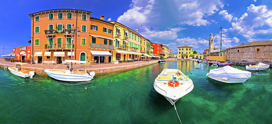 Lazise Photograph - Lazise Colorful Harbor And Boats Panoramic View by Brch Photography