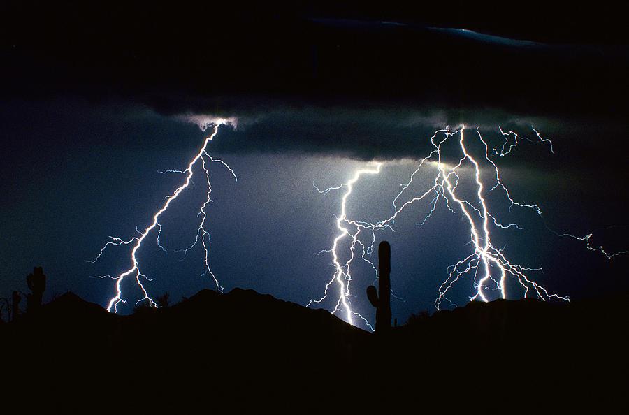 4 lightning bolts fine art photography print photograph by james bo