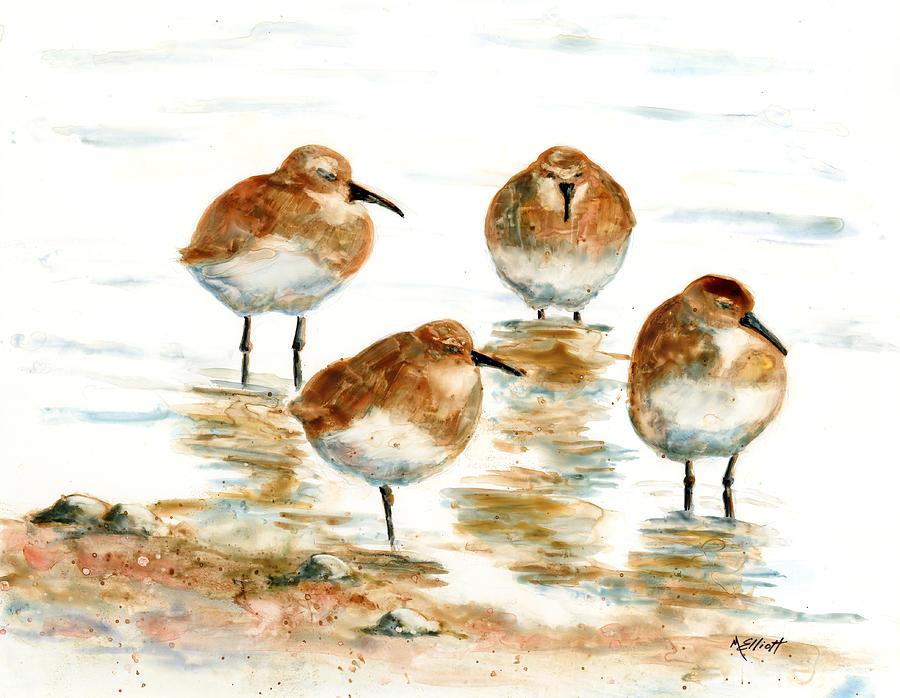 Sandpiper Painting - 4 Little Pipers by Marsha Elliott