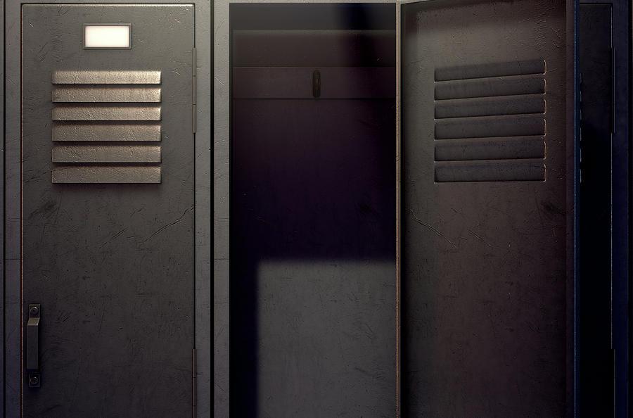 Locker Digital Art - Locker Row And Open Door by Allan Swart