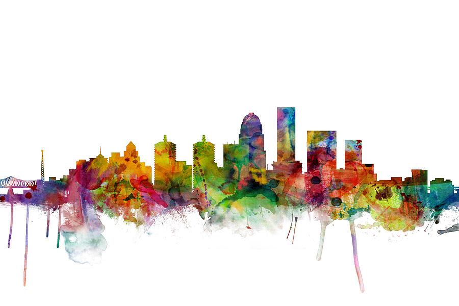 Watercolour Digital Art - Louisville Kentucky City Skyline by Michael Tompsett