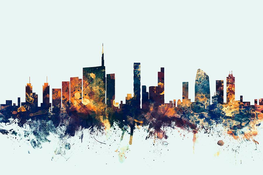 Italy Digital Art - Milan Italy Skyline by Michael Tompsett