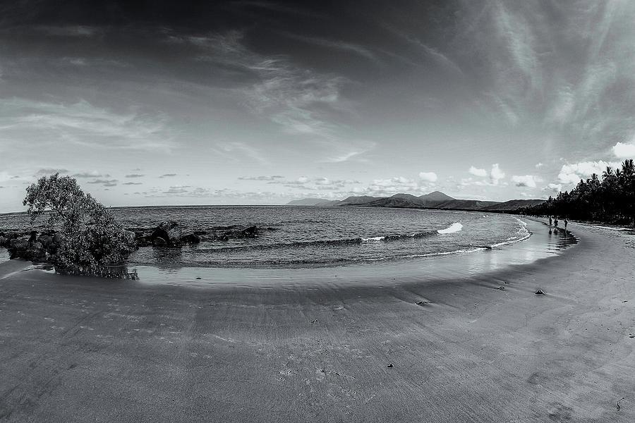 B&w Photograph - 4 Mile Beach Port Douglas by Chris Hood