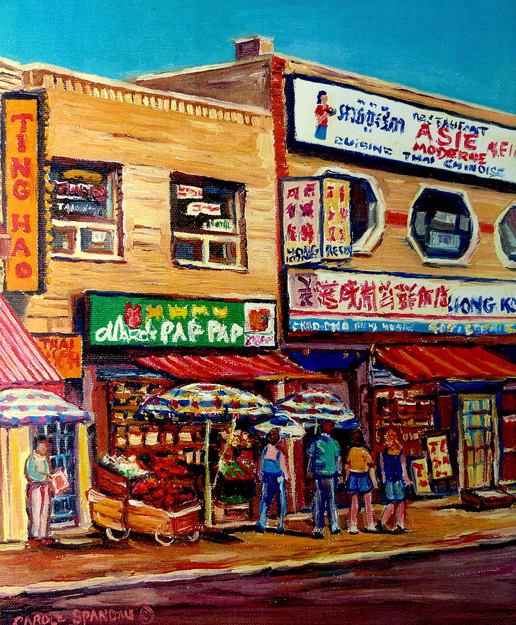 China Town Painting - Montreal Paintings by Carole Spandau