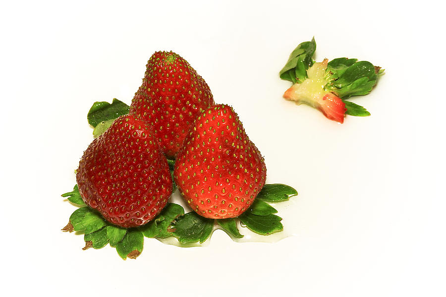 Strawberry Photograph - 4... No... 3 Strawberries by Evelina Kremsdorf