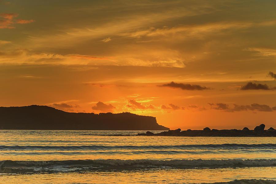 Umina Beach Photograph - Orange Sunrise Seascape And Silhouettes by Merrillie Redden