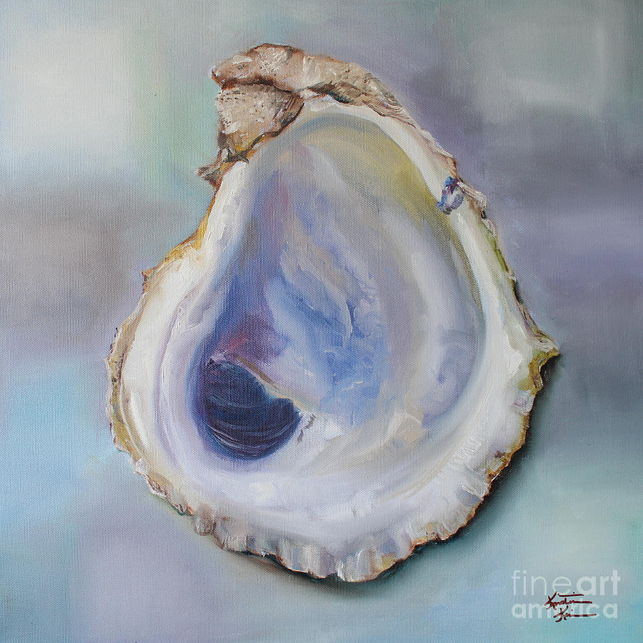 Oyster Shell Painting By Kristine Kainer