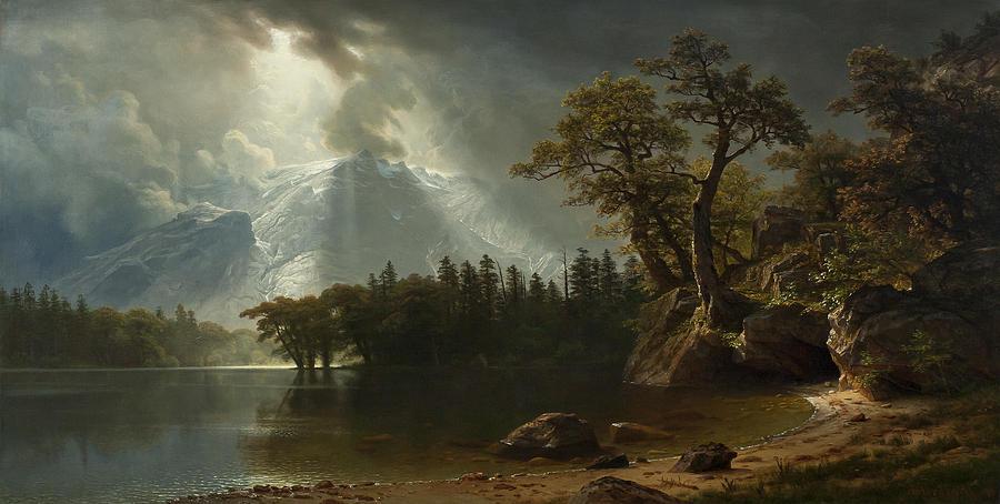Albert Bierstadt Painting - Passing Storm Over The Sierra Nevadas by Albert Bierstadt