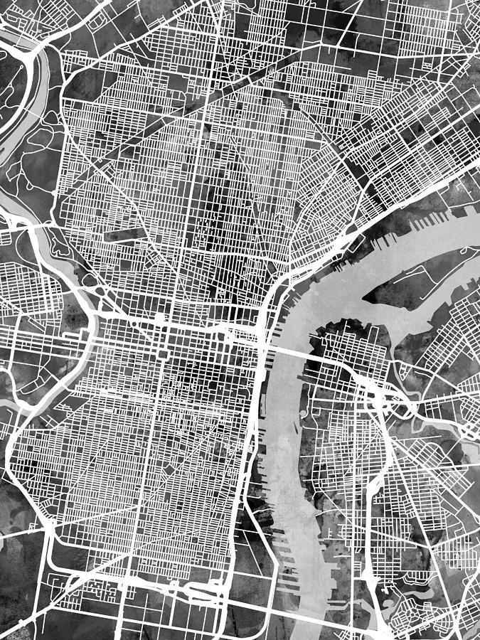 Street Map Digital Art - Philadelphia Pennsylvania Street Map by Michael Tompsett