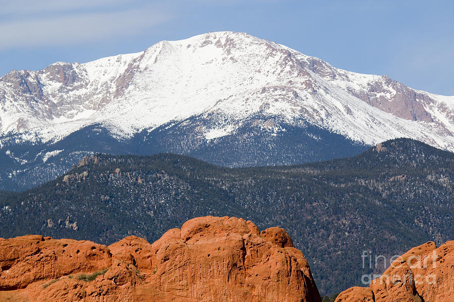 Pikes Peak And Garden Of The Gods Park In Colorado Springs In Th Photograph