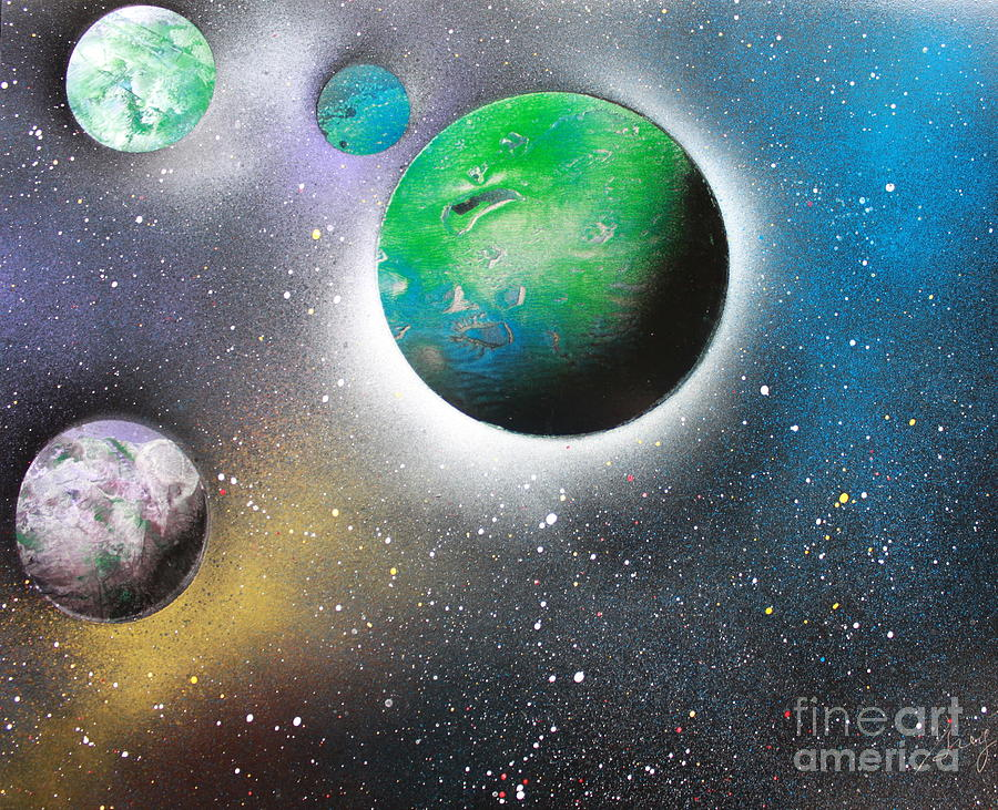 Space Art Painting - 4 Planets by Greg Moores