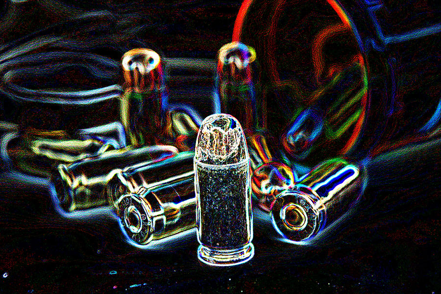 Pop Art Photograph - Pop Art Of .45 Cal Bullets Comming Out Of Pill Bottle by Michael Ledray
