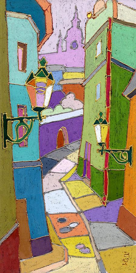Pastel Painting - Prague Old Street by Yuriy  Shevchuk