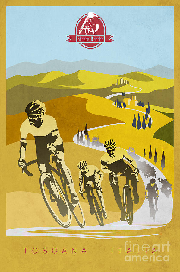 Vintage Cycling Painting - Print by Sassan Filsoof