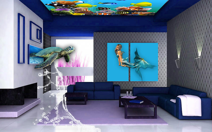 Fish Mixed Media - Rooftop Saltwater Fish Tank Art by Marvin Blaine
