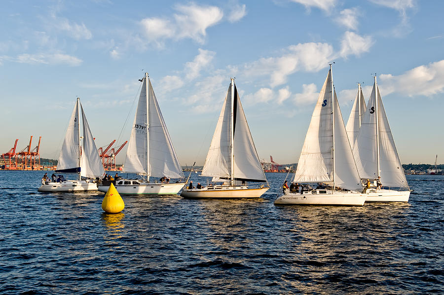 Seattle Photograph - Sailboat Race by Tom Dowd
