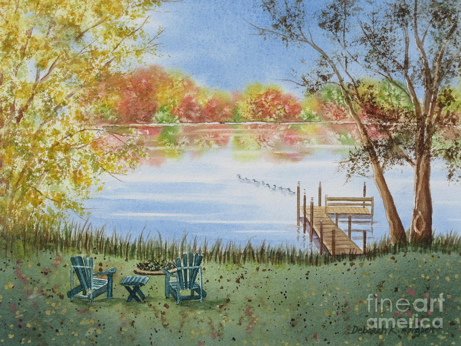 Lake Painting - 4 Seasons-autumn by Deborah Ronglien