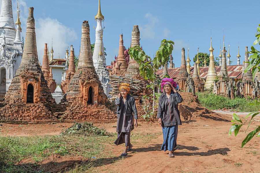 Inle Lake Photograph - Shwe Indein Pagoda - Myanmar by Joana Kruse