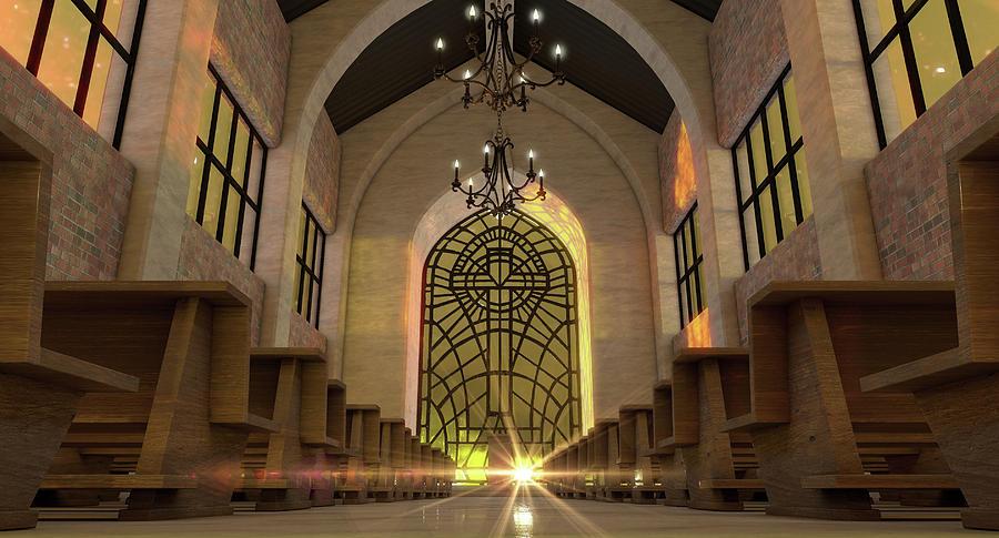 Church Digital Art - Stained Glass Window Church by Allan Swart