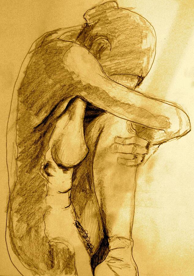 Young Woman Drawing - Studio Sketch by Dan Earle
