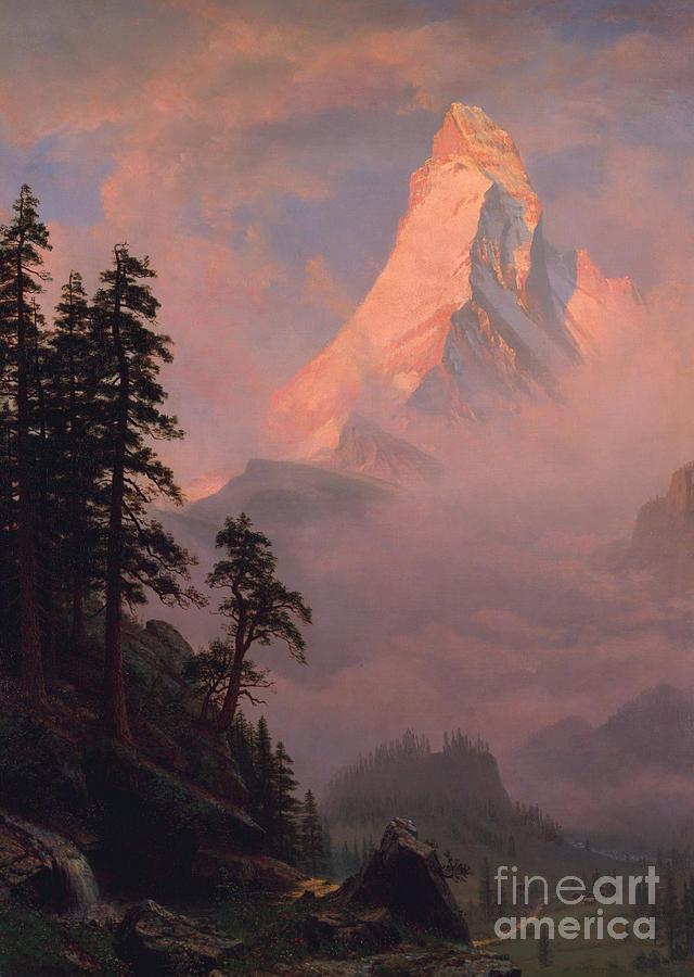 Matterhorn Painting - Sunrise On The Matterhorn by Albert Bierstadt