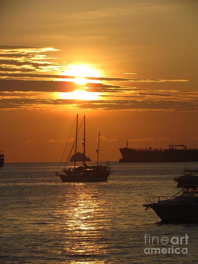 Sunrise ship Panama by Ted Pollard