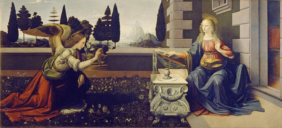 Annunciation Painting - The Annunciation by Leonardo da Vinci