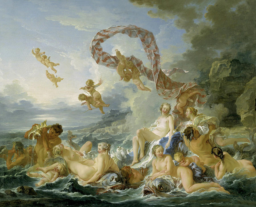 Mythical Creatures Painting - The Triumph Of Venus 5 by Francois Boucher