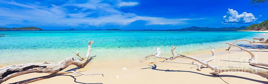 Sea Photograph - Tropical Beach Malcapuya by MotHaiBaPhoto Prints
