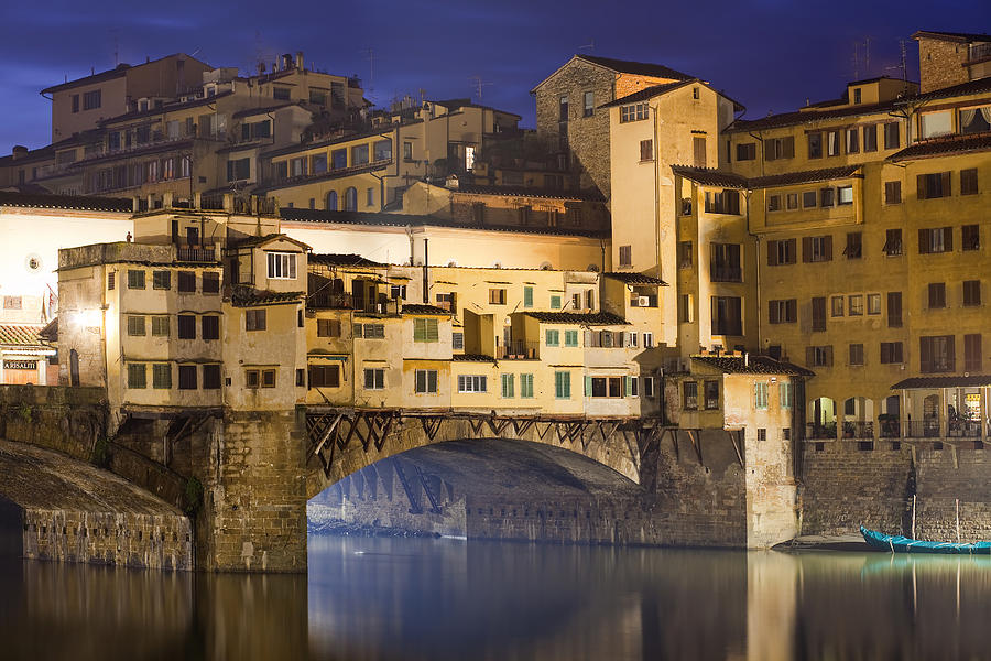 Ancient Photograph - Vecchio Bridge At Night by Andre Goncalves