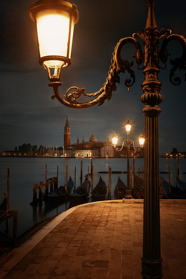 Venice Photograph - Venice At Night And San Giorgio Maggiore Church by Songquan Deng
