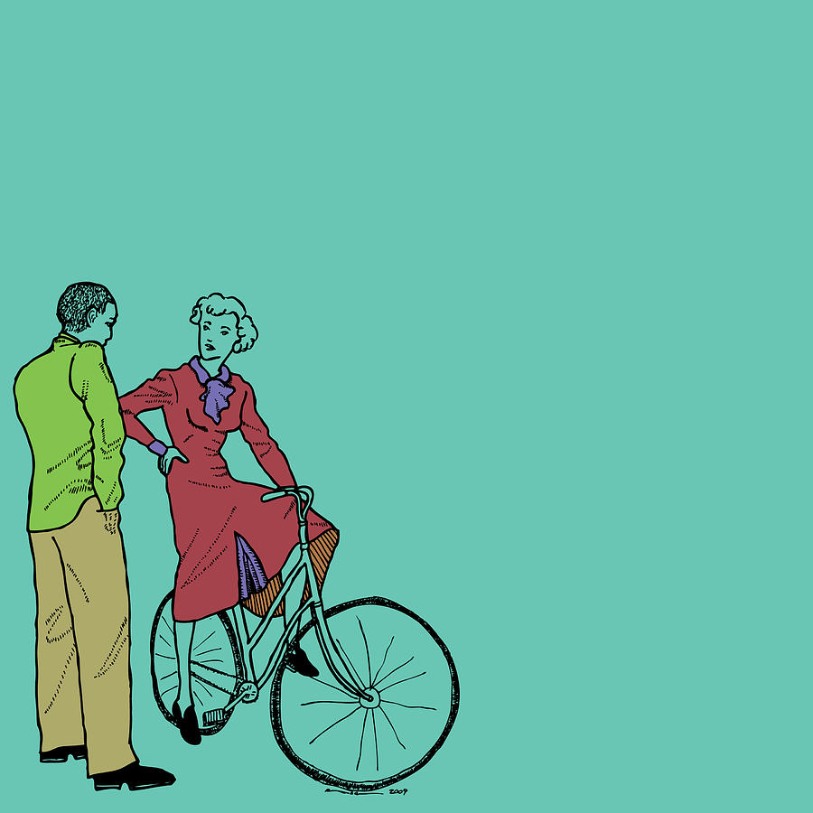 Drawing Drawing - Vintage Bike Couple by Karl Addison