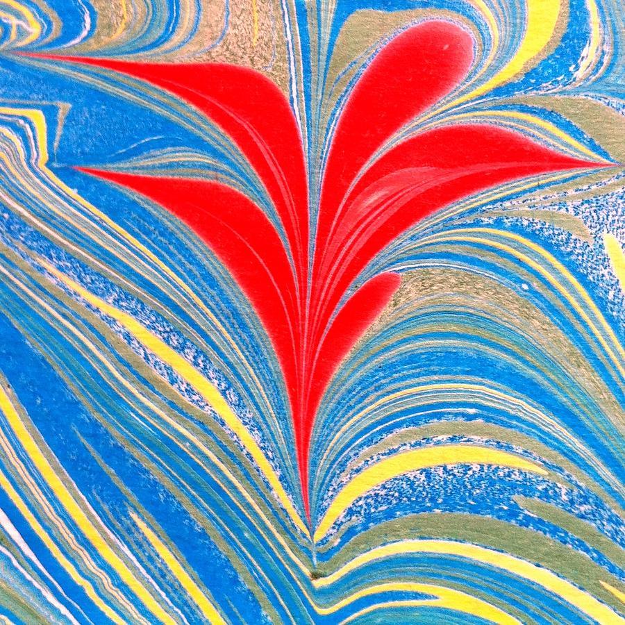 Flower Painting - Water Marbling Art, Ebru by Dilan C