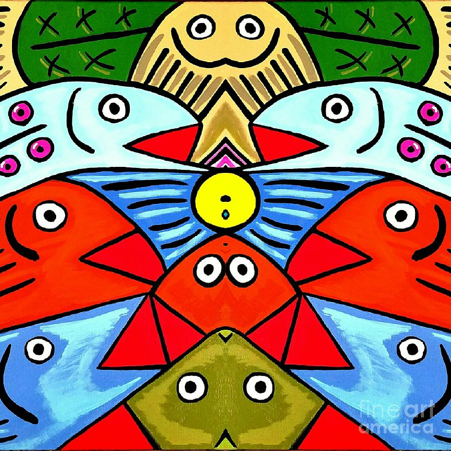 Whimsical Colorful Fish Painting by Scott D Van Osdol