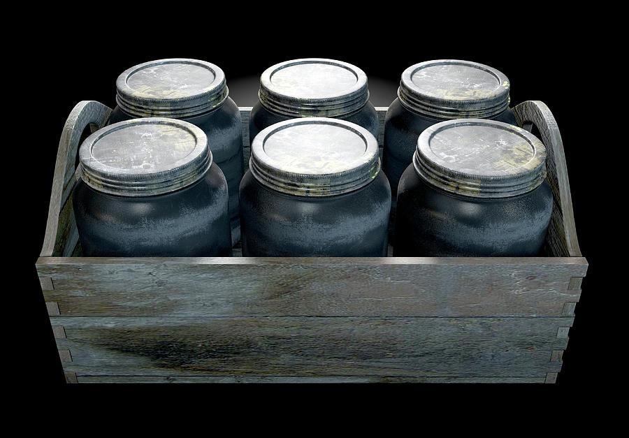 Jar Digital Art - Whiskey Jars In A Crate by Allan Swart
