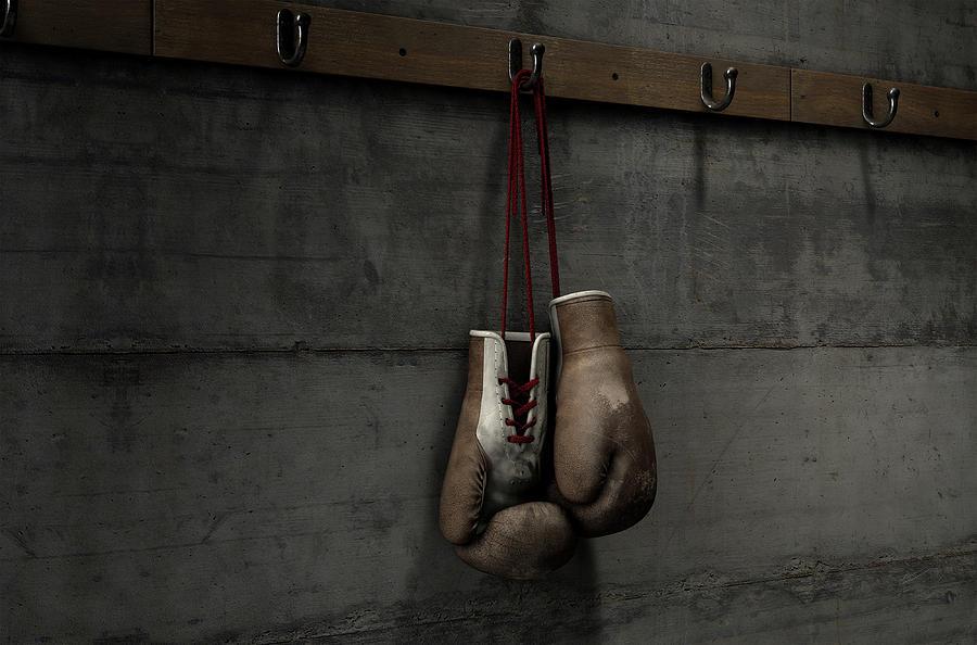 Worn Digital Art - Worn Vintage Boxing Gloves Hanging In Change Room by Allan Swart