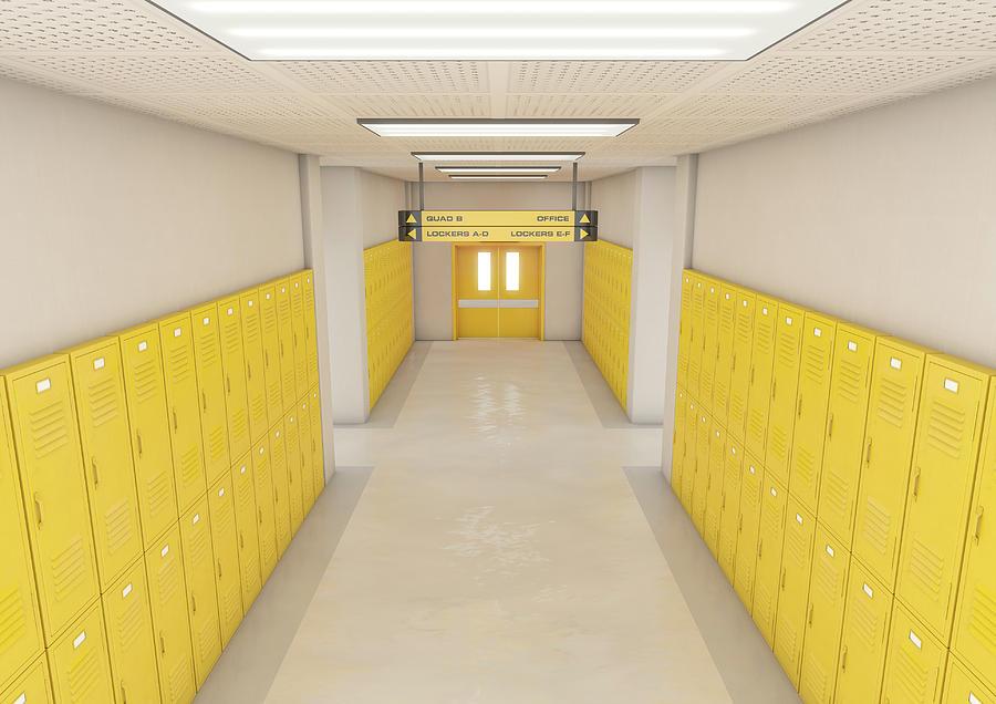 Locker Digital Art - Yellow School Lockers Light by Allan Swart