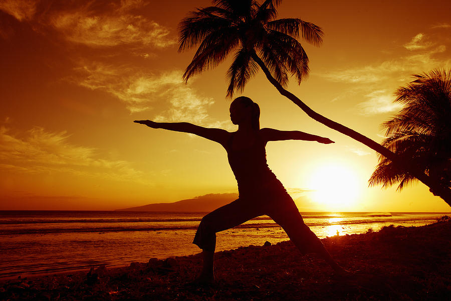 Arm Photograph - Yoga At Sunset by Ron Dahlquist - Printscapes