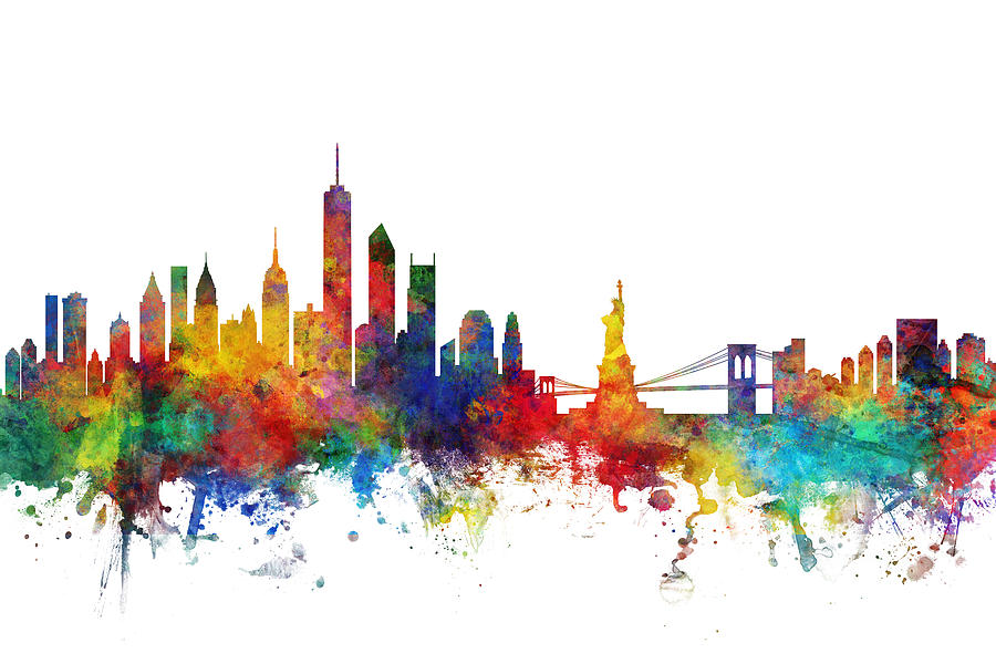 New York City Digital Art - New York Skyline by Michael Tompsett
