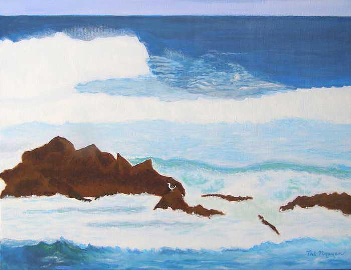 Seascape Painting - Ocean Near Monterey California by Thi Nguyen