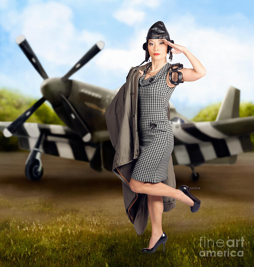 40s military pin up girl air force style photograph by