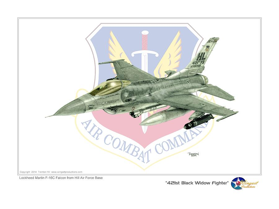 Aviation Drawing - 421st Black Widows by Trenton Hill