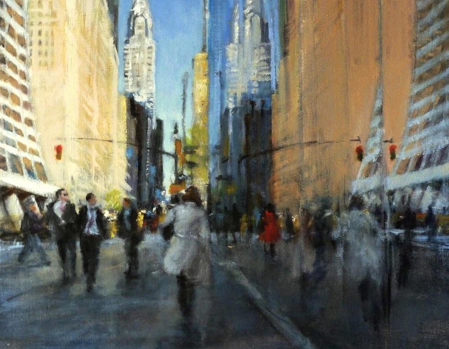 Urban Painting - 42nd Street Reflections by Peter Salwen