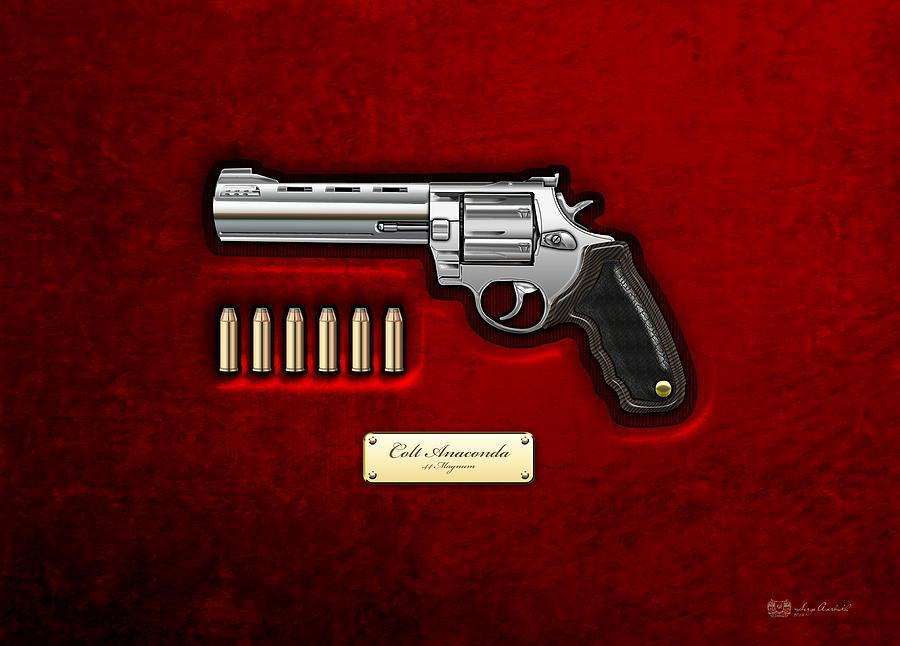 .44 Magnum Photograph - .44 Magnum Colt Anaconda On Red Velvet  by Serge Averbukh